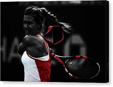 Roger Federer Canvas Print - Eugenie Bouchard by Brian Reaves