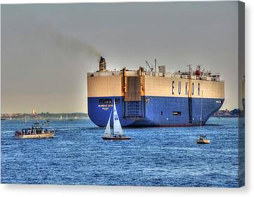 Canvas Print featuring the photograph Eukor Car Carrier Ship - Boston Harbor by Joann Vitali