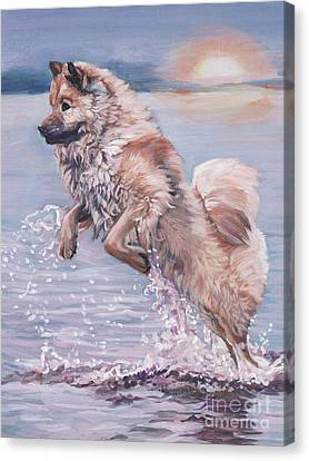Canvas Print featuring the painting Eurasier In The Sea by Lee Ann Shepard