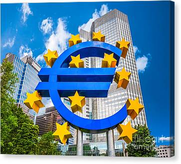 Euro Sign At European Central Bank In Frankfurt, Germany Canvas Print