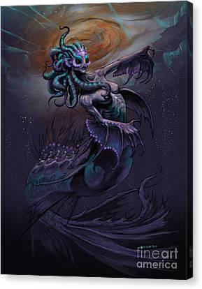Canvas Print featuring the digital art Europa Mermaid by Stanley Morrison