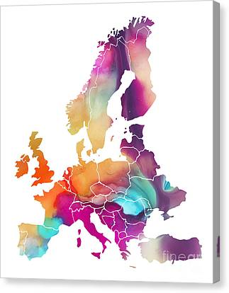 Europe Map Watercolors Canvas Print by Justyna JBJart