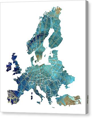 Europe Map Wind Map Canvas Print by Justyna JBJart