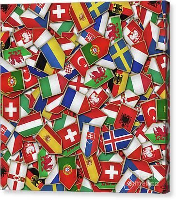 European Soccer Nations Flags Canvas Print by Carsten Reisinger
