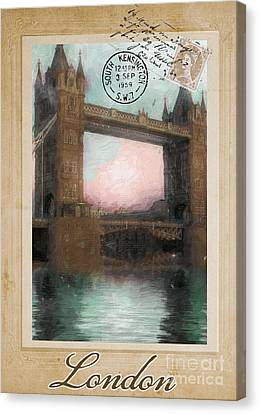 European Vacation Postcard London Canvas Print by Mindy Sommers
