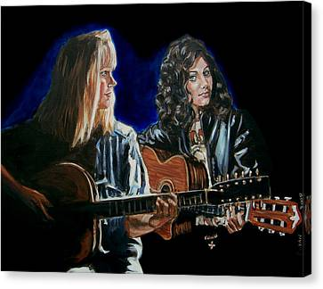 Canvas Print featuring the painting Eva Cassidy And Katie Melua by Bryan Bustard