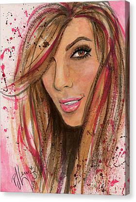 Canvas Print featuring the painting Eva Longoria by P J Lewis