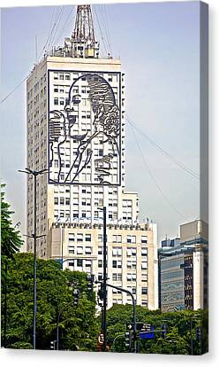 Eva Peron Outlined On The Wall Of A Skyscraper On July Nine Avenue  In Buenos Aires-argentina Canvas Print by Ruth Hager