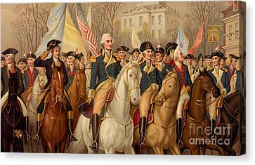 Evacuation Day And Washington's Triumphal Entry In New York City Canvas Print by American School