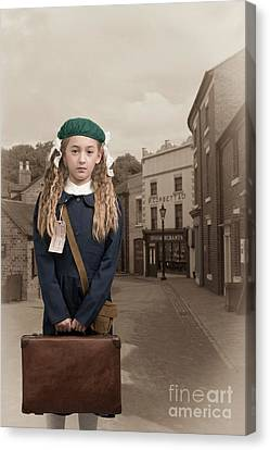 Evacuee Girl With Suitcase Canvas Print by Amanda Elwell