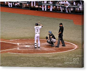 Evan Longoria - At The Plate Canvas Print by John Black