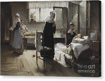 Evangeline Discovering Her Affianced In The Hospital Canvas Print by Samuel Richards