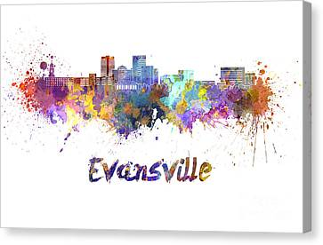 Evansville Canvas Print - Evansville Skyline In Watercolor  by Pablo Romero