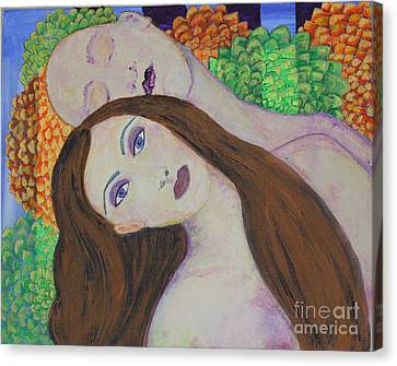 Canvas Print featuring the painting Eve Emerges by Kim Nelson