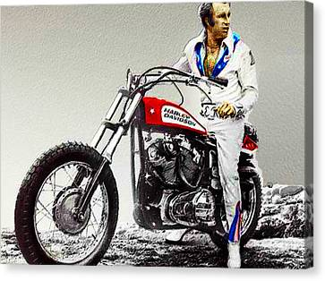 Evel Knievel Painting Full Color Large Canvas Print by Tony Rubino
