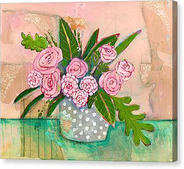 Evelyn Rose Flowers Canvas Print by Blenda Studio