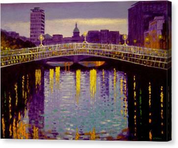 Evening - Ha' Penny Bridge- Dublin Canvas Print by John  Nolan