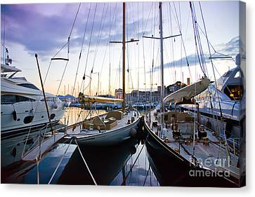 Canvas Print featuring the photograph Evening At Harbor  by Ariadna De Raadt