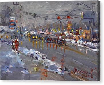 Evening At Niagara Falls Blvd Canvas Print by Ylli Haruni