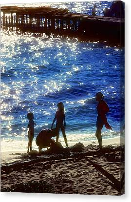 Evening At The Beach Canvas Print by Stephen Anderson