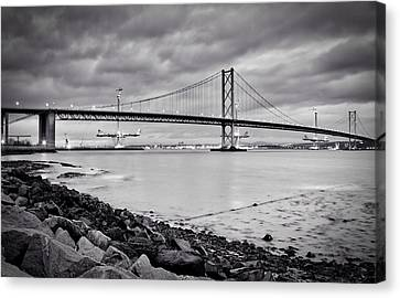 Canvas Print featuring the photograph Evening At The Forth Road Bridges by RKAB Works