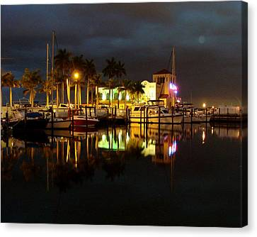 Evening At The Marina Canvas Print by Kimberly Camacho