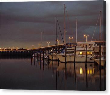 Evening At The Twin Dolphin Marina Canvas Print by Kimberly Camacho
