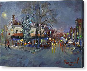 Evening At Webster And Main St Canvas Print by Ylli Haruni