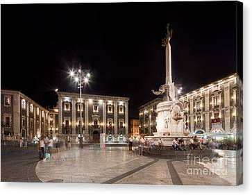 Sicily Canvas Print - Evening Atmosphere At The Piazza Duomo In Catania Sicily by Wolfgang Steiner