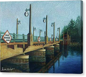 Canvas Print featuring the painting Evening, Bayville Bridge by Susan Herbst