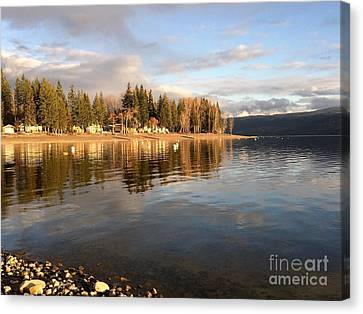 Evening By The Lake Canvas Print by Victor K