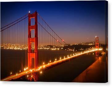 Evening Cityscape Of Golden Gate Bridge  Canvas Print by Melanie Viola