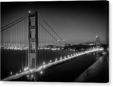 Evening Cityscape Of Golden Gate Bridge Monochrome Canvas Print by Melanie Viola