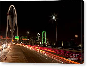 Evening Commute On The Margaret Hunt Hill Bridge In Downtown Dallas Canvas Print