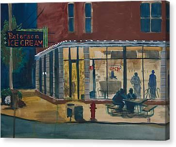 Evening Conversations At Petersen's Ice Cream Canvas Print