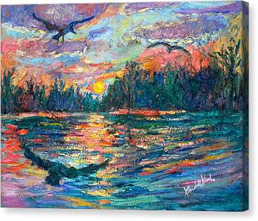 Canvas Print featuring the painting Evening Flight by Kendall Kessler
