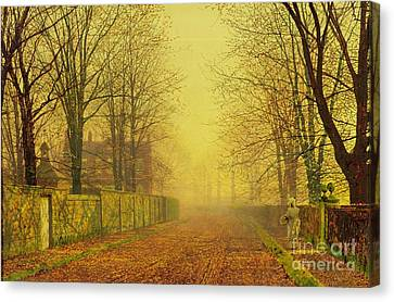 John Atkinson Grimshaw Canvas Print featuring the painting Evening Glow by John Atkinson Grimshaw