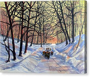 Evening Glow On A Winter Lane Canvas Print
