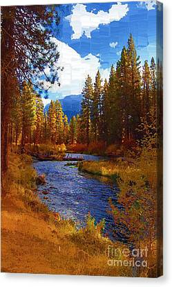 Evening Hatch On The Metolius River Painting 2 Canvas Print by Diane E Berry