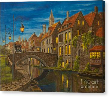 Evening In Brugge Canvas Print by Charlotte Blanchard