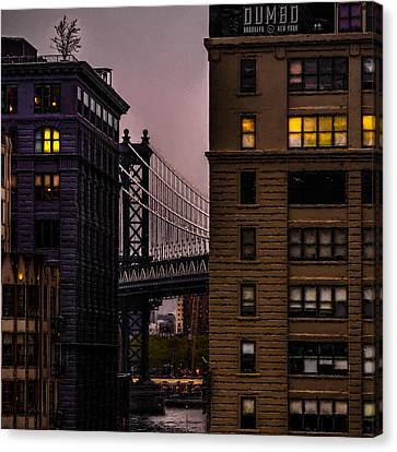 Canvas Print featuring the photograph Evening In Dumbo by Chris Lord