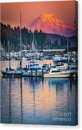 Northwest Canvas Print - Evening In Gig Harbor by Inge Johnsson