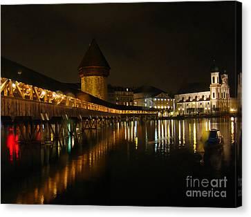 Evening In Luzern Canvas Print by Al Bourassa
