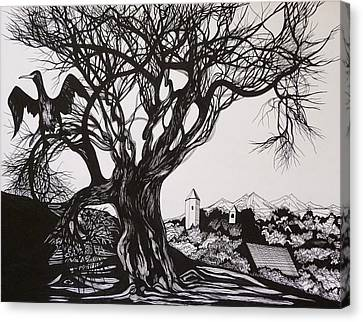 Canvas Print featuring the drawing Evening In Midnapore by Anna  Duyunova