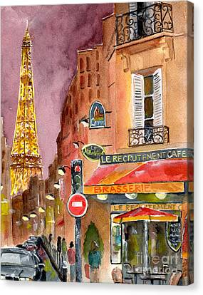 Street Lights Canvas Print - Evening In Paris by Sheryl Heatherly Hawkins