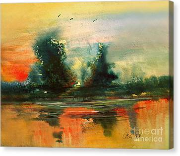 Canvas Print featuring the painting Evening Light by Allison Ashton
