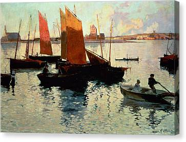 Evening Light At The Port Of Camaret Canvas Print by Charles Cottet