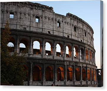 Canvas Print featuring the photograph Evening Light In Rome by Pat Purdy