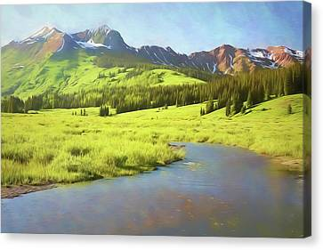 Canvas Print featuring the photograph Evening Light In Soft Pastels by Eric Glaser