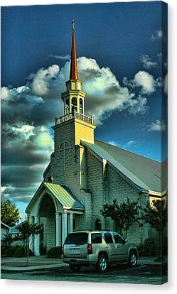 Evening Light On Church Canvas Print by Linda Phelps